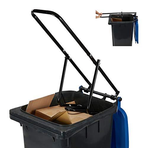 Relaxdays Compresseur de déchets pour poubelle domestique, déchets résiduels, plastique, manuel, acier noir