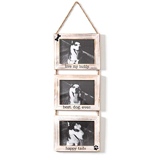Collage Hanging Picture Frame Dogs 3 Photo Frames Set, 5' x 7' Wooden Wall Hanging Picture Frame Love My Buddy Best Dog Ever Happy Tails Photo Gift Dog Display Frame for Home, Office