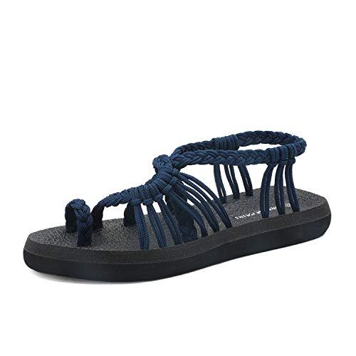 DREAM PAIRS Women's Navy Flat Sandals Summer Braided Strap Yoga Comfortable Beach Sandals Size 10 M US Athena_10