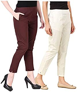 ALIYAA Stylist Very Comfort Cotton Lycra Casual WEAR STRACHEBLE Pencil Pant for Women's & Girl's