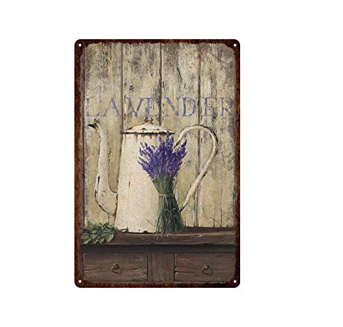 ivAZW Retro Chic Flower Metal Tin Sign Lavender Rose Iron Painting Room Decorative Art Plates 20x30cm 14