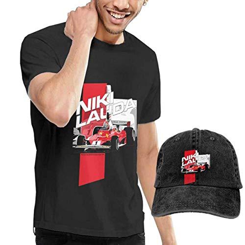 Thimd Niki Lauda F1 1976 Herren Kurzarm T Shirt Baseball Cowboy Hut Set Schwarz