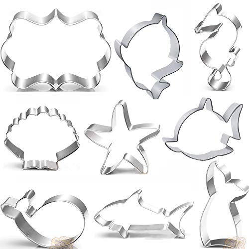 Baby shark cutte Cookie Cutters Set - 9 PCS - Mermaid Tail,baby shark,Seahorse,Starfish,Seashell,whale,Shark Cookie Cutters Molds