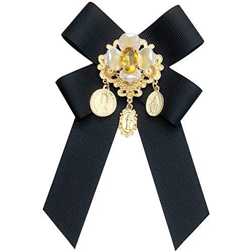 auvwxyz. Broschen Europäisches und amerikanisches Gericht Retro Pin Krawatte barocke antike Münze Bogen Stoff Brosche Hemd weibliche Accessoires, Schwarze Pin-Modelle