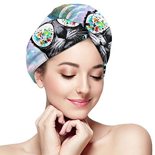 Toalla de secado de pelo para mujer, turbante con botón Dj Cat con auriculares Pet Animal suave absorbente microfibra gorro de baño turbante para cabello largo y rizado