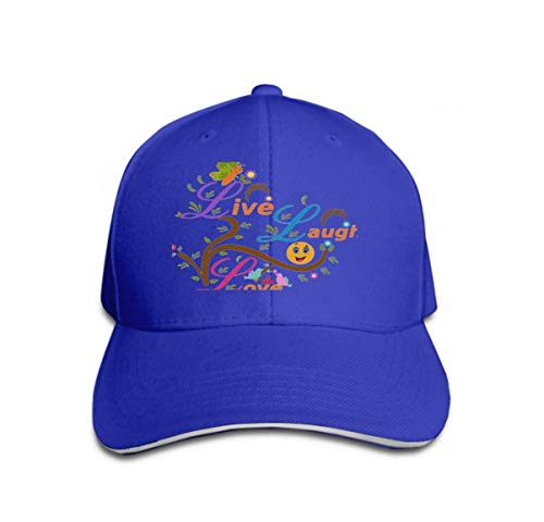 Vintage Trend Printing Cowboy Hat Fashion Baseball Cap for Men and Women Live Laugh Love Live Laugh Love Butterfly Birds Smiley Can Be Used Card D