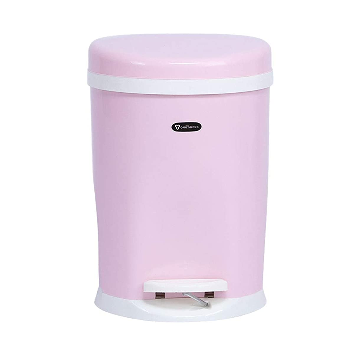 Bai Su Foot Trash-Household Plastic with Lid Fashion Storage Barrel Living Room Waste Recycling (Color : Pink, Size : 8.5L)
