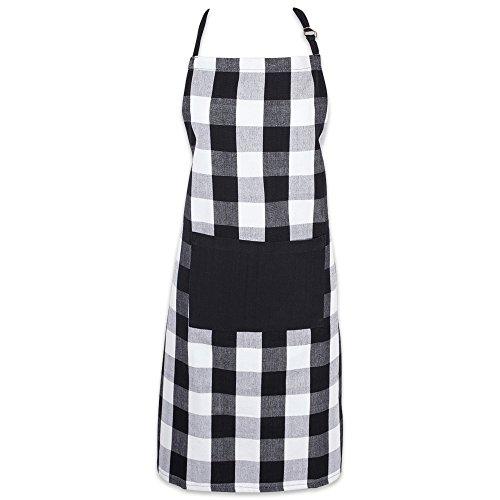 DII Buffalo Check Kitchen Collection, Classic Farmhouse Chef Apron, One Size, Black & White