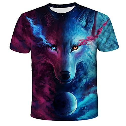 EMPERSTAR Camiseta para Hombre Verano Cuello Redondo Manga Corta Camisetas Estampadas para Hombre Camiseta con Estampado de Lobo para Hombre Ropa de Moda