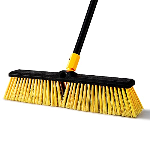 """Yocada Push Broom Brush 17.7"""" Wide 65.3"""" Long Handle Stiff Bristles Heavy-Duty Outdoor Commercial for Cleaning Bathroom Kitchen Patio Garage Deck Concrete Wood Stone Tile Floor"""