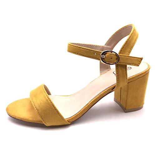 Angkorly - Damen Schuhe Sandalen Pumpe - kleine Fersen - Plateauschuhe - Offen - Einfach Basic - Basic - String Tanga Blockabsatz high Heel 6.5 cm - Senfgelb FC-33 T 37