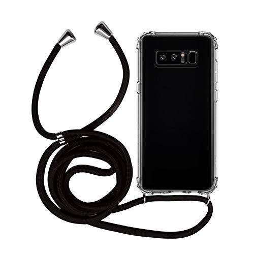 MyGadget Funda Transparente con Cordón para Samsung Galaxy Note 8 - Carcasa Cuerda y Esquinas Reforzadas en Silicona TPU - Case y Correa - Negro