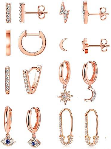 Milacolato 8 Pairs Moon Star Dangle Hoop Earrings for Women Mini Bar Stud Earrings Lighting Bolt Stud Earrings Pin Cartilage Circle Huggie Cuff Earrings Jewelry Set