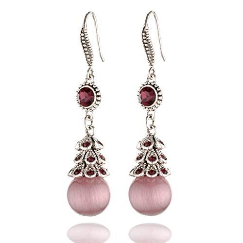 feilai Pendientes clásicos de ópalo rosa para mujer, estilo vintage, color plateado, redondo, ojo de gato, color verde