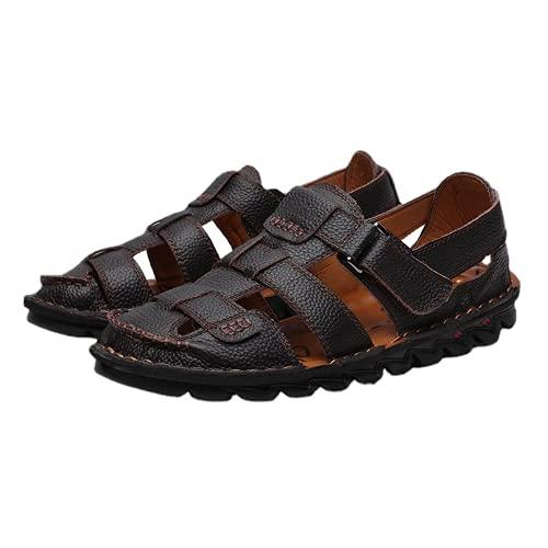 Sandalias de cuero de los hombres Zapatos de playa de los hombres al aire libre Zapatos casuales sandalias de natación negro caminar senderismo sandalias para hombres, color Marrón, talla 42.5 EU