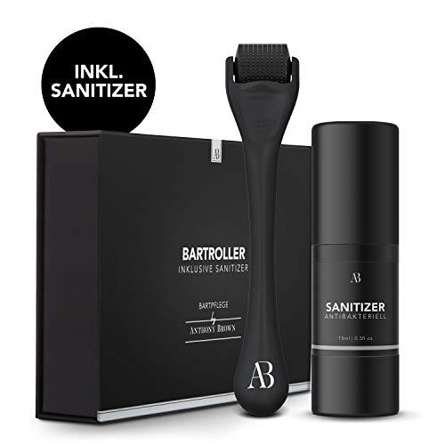 Anthony Brown® Bartroller 0.5mm für mehr Bartwuchs - mit Reinigungsspray für sorglose Anwendung - Dermaroller Set für den Bart - Bart Roller