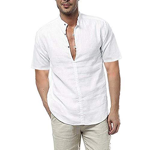 TUDUZ Camisetas Hombre Verano Manga Corta Color Slido con Lino Camisas De Tops Suaves (Blanco, L)