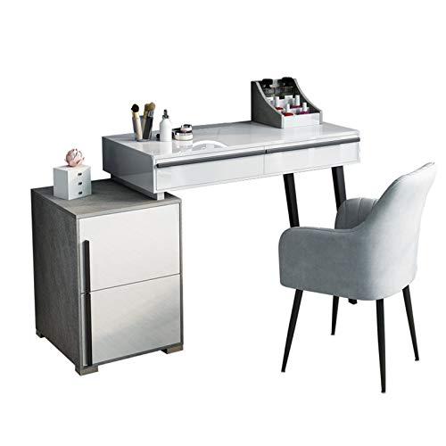 LINGZE Tischwaschtisch, großer professioneller Leucht-Schminkspiegel mit 3-Farben-Beleuchtungsmodi, Schlafzimmer-Make-up-Kommodenmöbel