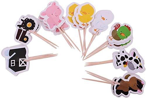 hsj LF- Spielzeug Packung mit 24 Farm Animal Cupcake Picks Kuchen-Deckel Kindergeburtstags-Party-Nahrung Sticks Lernen