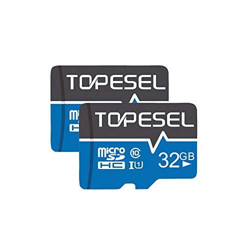 Tarjeta Micro SD 32GB, TOPESEL Tarjeta Memoria Alta Velocidad 85 MB/s SDHC Mini Tarjeta TF para Móvil, Tablet, Cámara, Tarjeta microSD 32GB (Class 10, U1) 2 Unidades, Azul