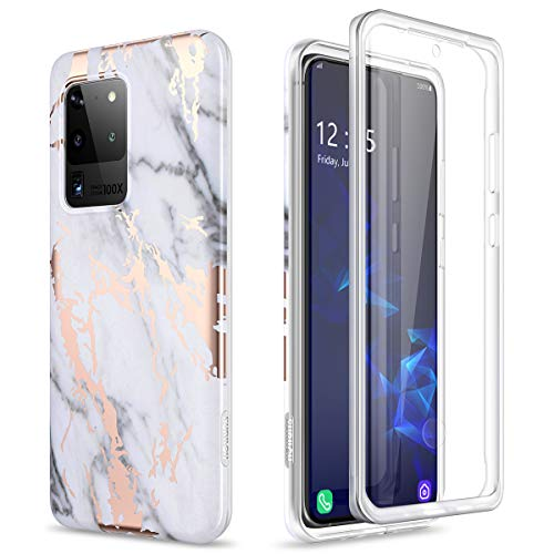 SURITCH Galaxy S20 Ultra Case, [Built-in Screen Protector] S20 Ultra Natural Marble Full-Body Protection Shockproof Rugged Bumper Protective Case for Samsung Galaxy S20 Ultra 5G 6.9 Inch (Gold Marble)