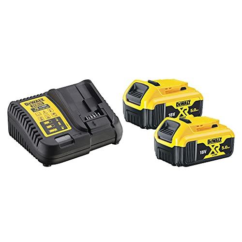 Dewalt DCB115P2-QW Kit 2 Baterías Carril XR 18V Li-Ion 5, 0 W, 220 V, Negro/Amarillo, 18 V