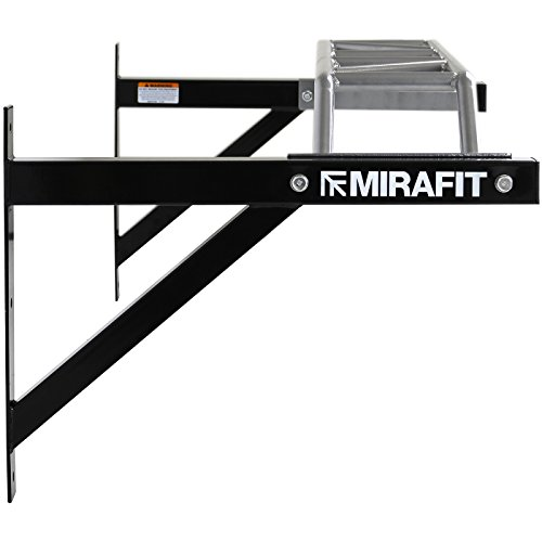Mirafit Heavy Duty Black and Silver Multi Grip Wall Mounted Pull Up Bar - 1.2m Wide