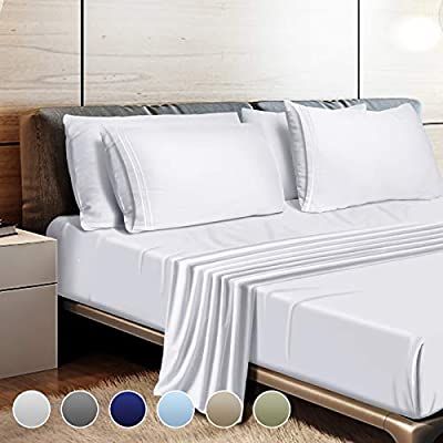"""Leafbay Twin Bed Sheets Set - Super Soft Microfiber Bed Sheets 1800 TC with 16"""" Deep Pocket, Wrinkle Resistant and Unfading Bedding Set - White"""