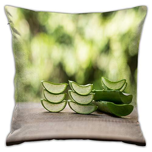 Gggo Cuadrado Funda de Almohada Rebanada de Aloe Vera (Aloe barbadensis Mill Star Cactus Fundas de cojín para Sala de Estar sofá, Dormitorio, decoración 50x50cm