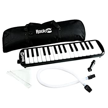 RockJam 32 Key Melodica with 2 Mouthpieces Air Piano Keyboard Pianica With Carrying Bag and Cleaning Cloth
