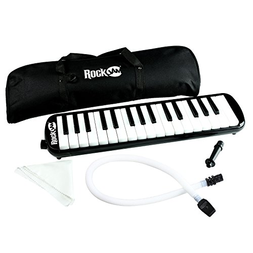 RockJam 32 Key Melodica with 2 Mouthpieces Air Piano Keyboard, Pianica, With Carrying Bag and Cleaning Cloth