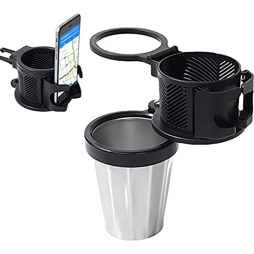 2-in-1 Car Cup Holder Expander Adapter,All Purpose Car Cup Holder and Organizer,Multifunctional Car Cup Holder Vehicle Mounted Water Cup,Car Cup Holder with Phone Holder (1PCS)