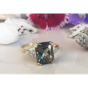 Green Tourmaline Statement Engagement Rectangle Ring