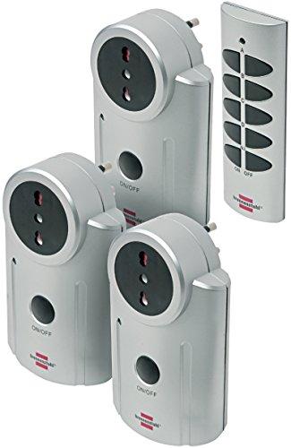 Brennenstuhl 1507475 Set 3 prese italiane (10A+16A) per domotica + telecomando, serie Primera Line