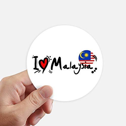 DIYthinker Amo la ilustración de la Bandera de Malasia Palabra del Amor del corazón Etiquetas Redondas de 10 cm Pared Maleta portátil Motobike Decal 8pcs Diámetro 10cm
