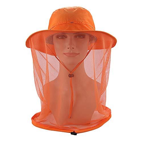Neue Outdoor-Angelhut Anti-Mücken-Maske Angelhut Kopf Netzoberflächenschutz Angeln Sonnenschutz Schatten Campinghut Orange