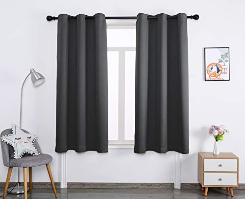Blackout Window Curtain Panels Thermal Insulated Curtains Living Room and Bedroom Drapes Panels with Grommet,2 Panels (Dark Grey, 42W X 84L)