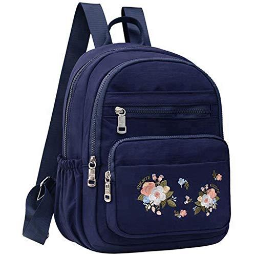 SODIAL Damen Rucksack Blumen Stickerei Wasserdichter Nylon Reise Rucksack L?Ssige SchüLer Schul Tasche M?Dchen-Blau