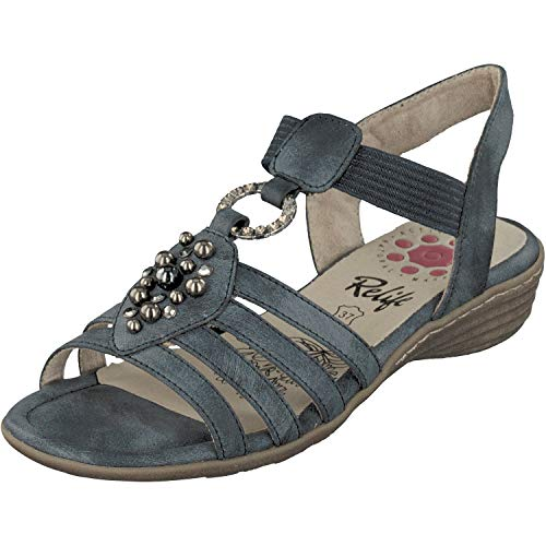 Relife Damen Schuhe Sandalen Sandaletten 9717-11710-67 in 2 Farben (41 EU, Blau)