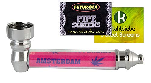 yaoviz® Metall-Schraubpfeife 90mm pink inkl. 10 Einlegesiebe Amsterdam Purpfeife komplett zerlegbar Metallpfeife