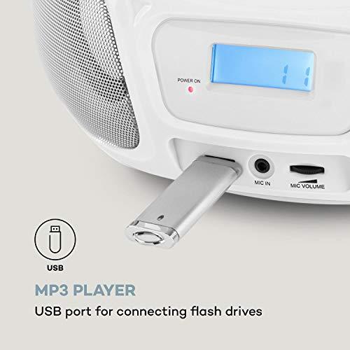 auna Roadie Sing CD-MP3 Karaoke Player Stereoanlage Boombox (Sing-A-Long Funktion, USB-Port, UKW Radio, Bluetooth 3.0, LED-Beleuchtung, Netz- und Batterie-Betrieb, Mikrofon) weiß