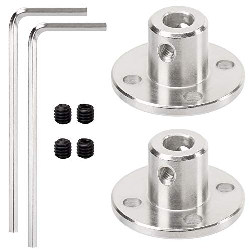 2 Pack 5mm Flange Coupling Connector, Rigid Guide Steel Model Coupler Accessory, Shaft Axis Fittings for DIY RC Model Motors, High Hardness Coupling Connector-Silver. (2 pcs 5mm)
