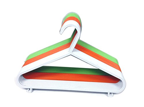 "THE UM24 Set of 40 Plastic Children Hanger Assorted Colors, Hot Pink, Orange,Green,White, 11"" Wide Kids Hangers"