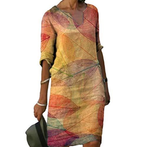Damen Kleid Sommerkleider V-Ausschnitt Freizeitkleider Knielang Leinenkleid Blusenkleid Damen Retro Style Print Shirt Baumwolle Und Leinen Lässig Plus Größe Lose Tunika Tuchkleid Mittleren Ärmeln
