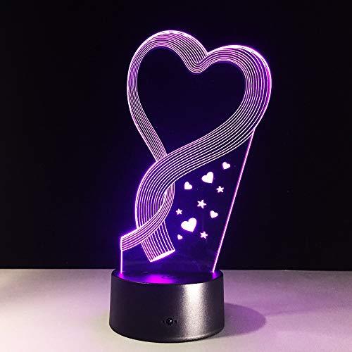 La Mejor lámpara de Mesa de ilusión con Forma de corazón de Regalo del Día de la Madre con una luz Nocturna Que Cambia de Color como decoración de Holograma para el hogar