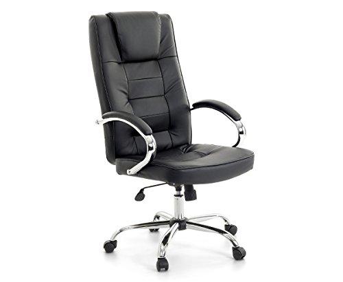 Leder Chefsessel Massagesessel San Diego Farbe schwarz + chrom Bürostuhl mit Massage für Büro...