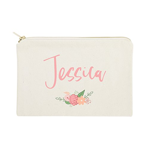 The Cotton & Canvas Co. Personalized Colored Name Floral Cosmetic Bag and Travel Makeup Pouch
