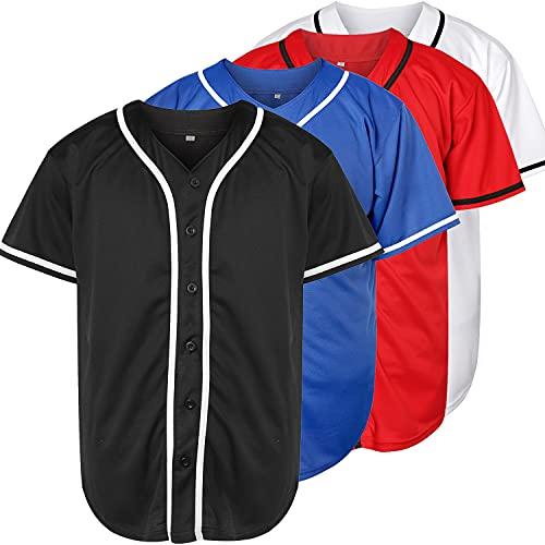 Camiseta de béisbol en blanco liso Hip Hop Hipster con botones de abajo Camisas de uniformes deportivos para hombres y mujeres - azul - Small