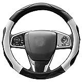ZATOOTO ハンドルカバー sサイズ 軽自動車 ステアリングカバー 3Dグリップ 滑り止め 車 アクセサリー 普通車 フィット感 ブラック+ホワイト LY06-BW