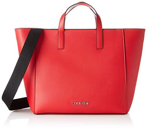 Calvin Klein Strap Shopper - Borse Tote Donna, Rosso (Lipstick Red), 15.5x31x41 cm (B x H T)